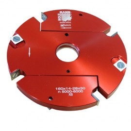 Porte-outil à feuillurer extensible D. 160 x 14 à 28 x Al. 30 mm Z4 + V4 VN160-2