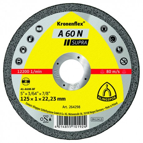 25 disques à tronçonner MP SUPRA A 60 N D. 125 x 1 x 22,23 mm - Aluminium - 264298