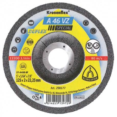 25 disques à tronçonner et ébarber MD SPECIAL A 46 VZ D. 125 x 2 x 22,23 mm - Acier inoxydable / Métaux non ferreux - 298177