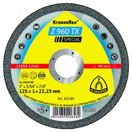 25 disques à tronçonner MP SPECIAL Z 960 TX D. 115 x 1 x 22,23 mm - Acier / Inox / Alliages / TiN - 322184