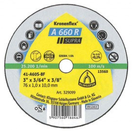 100 disques à tronçonner MP SUPRA A 660 R D. 76 x 1 x 10 mm - Acier - 329099