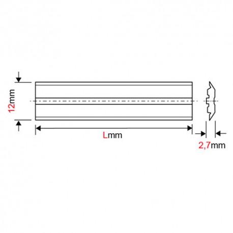 Fer de dégauchisseuse/raboteuse reversible Centrofix carbure 260 x 12 x 2,7 mm (le fer) - MFLS - FECE2601227HM