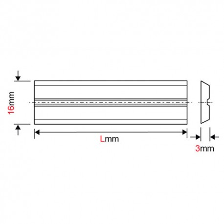 Fer de dégauchisseuse/raboteuse reversible Centrolock HSS 260 x 16 x 3 mm (le fer) pour Weinig - MFLS - FERE260163