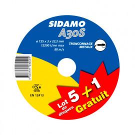 Lot de 5 disques à tronçonner MD - D.125 x 3 x 22,23 mm A30S + 1 disque Gratuit - Acier - 10103044