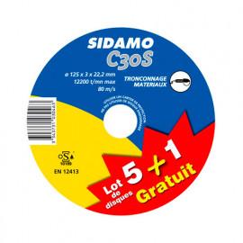 Lot de 5 disques à tronçonner MD - D.125 x 3 x 22,23 mm C30S + 1 disque Gratuit - Matériaux - 10103046