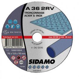 50 disques à tronçonner plat - D.76 x 1.6 x 10 mm A36 2RV - Acier/Inox - 10601004
