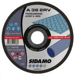 25 disques à tronçonner plat - D.125 x 1.6 x 22,23 mm A36 2RV Acier/Inox - 10601038