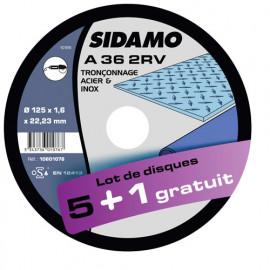 Lot de 5 disques à tronçonner plat - D.125 x 1.6 x 22,23 mm A36 2RV + 1 Gratuit - Acier/Inox - 10601076