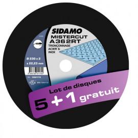 Lot de 5 disques à tronçonner plat - D.125 x 1.6 x 22,23 mm A36 2RT + 1 Gratuit - Acier/Inox - 10601169