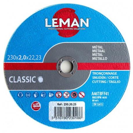 25 disques à tronçonner inox à moyeu plat - D. 125 x Al. 22,23 x Ep. 1 mm - 125.10.25 - Leman