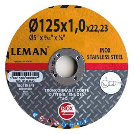 25 disques à tronçonner inox - D. 125 x Al. 22,23 x Ep. 1,6 mm - 1251649.25 - Leman