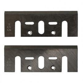 Jeu de 2 fers HSS, réaffûtables, pour rabots portatifs 82x28x3 mm pour bois - 140.511.00 - Leman