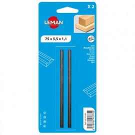 Lot de 2 fers de rabot réversibles KO5 82x5,5x1,1 mm pour bois - 142.782.02 - Leman
