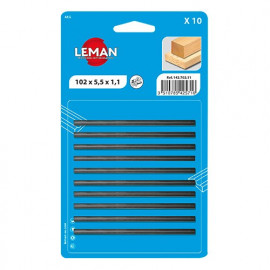 Lot de 10 fers de rabot réversibles KO5 82x5,5x1,1 mm pour bois - 142.782.11 - Leman