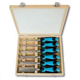 Coffret de 6 ciseaux à bois à manche bi matière - 780.500.06 - Leman