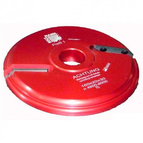 Porte-outil plate bande D. 160 x 20 x Al. 30 mm Z2 APF160 livré avec profil F1