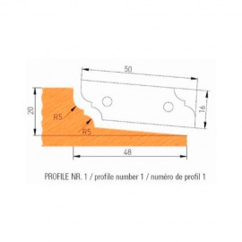Jeu de 2 plaquettes profil N°1 APF160F1 pour APF160