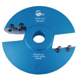 Porte-outils plate bande - travail dessus D. 180 Al. 30 mm Avt. 52mm Z2 profil N°101 - 948.180.30.101 - Leman